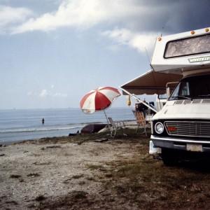 Camper Van and Umbrella