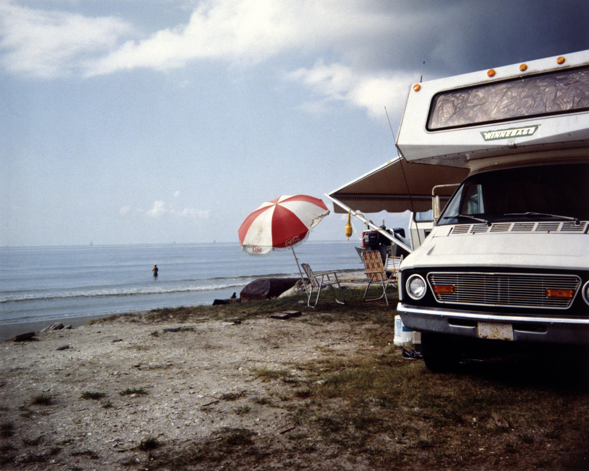 Camper Van and Umbrella